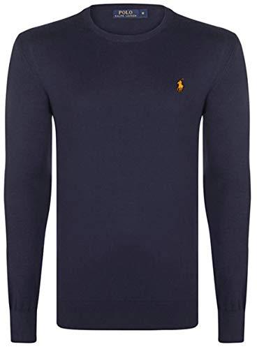 Ralph Lauren, pullover da uomo, a girocollo, cotone Pima blu navy XL