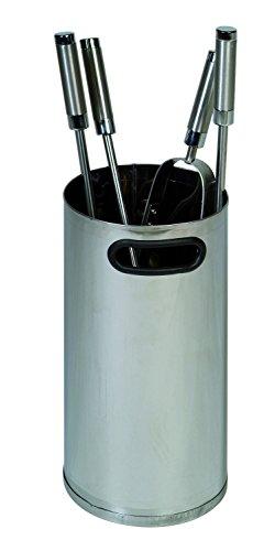 Set di attrezzi per camino, effetto acciaio inox, corpo chiuso, altezza 35 cm, diametro 16 cm