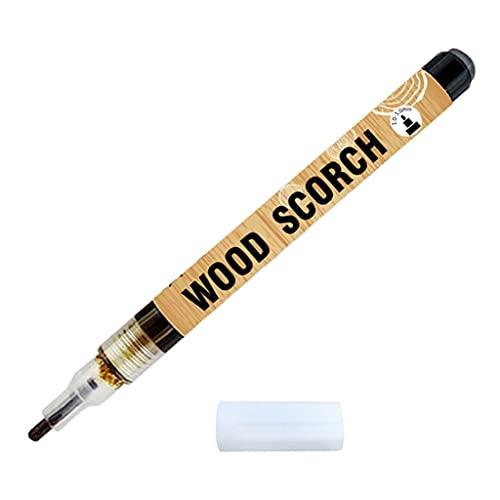 Tanmo Bolígrafo de leña para quemar madera, con cabezal redondo seguro, punta de bala de 0,1 pulgadas, color caramelo
