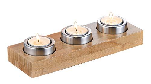 Teelicht-Halter JOLLY für 3 Teelichter Material: Bambus und Edelstahl Maße: 25 x 8 x 5 cm. Im Geschenkkarton