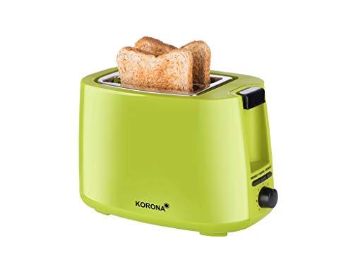 Korona 21133 Toaster in grün - 2 Scheiben Toaster 750 Watt mit Brötchenaufsatz sowie einer Auftau- und Aufwärmstufe
