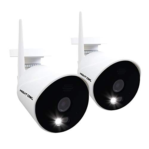 Night Owl AC Powered 1080p HD Wi-Fi IP Indoor/Outdoor Camera with 100 ft. of Night Vision, 2-Way Audio, Built-in Spotlight, Wide Viewing Angle and Free Remote Viewing App, 2-Pack
