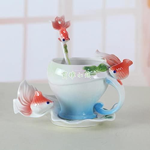 Moda 3D Goldfish Esmalte Taza De Café Taza Té De Porcelana Leche Cerámica Juego De Vino De Porcelana De Hueso