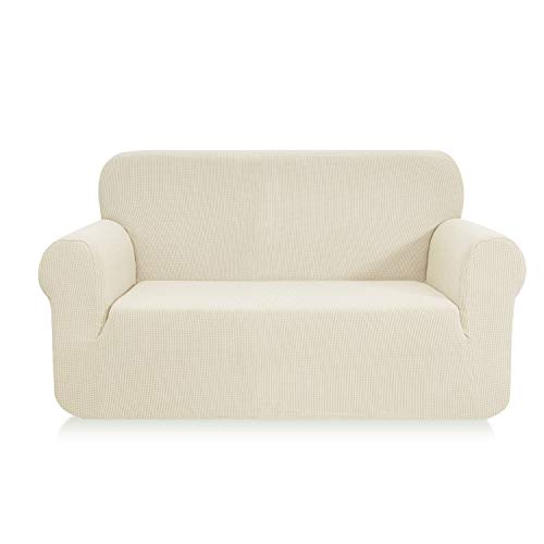 E EBETA Elastisch Sofa Überwürfe Sofabezug, Stretch Sofahusse Sofa Abdeckung Hussen für Sofa, Couch, Sessel 2 Sitzer (Cremefarbe, 145-185 cm)