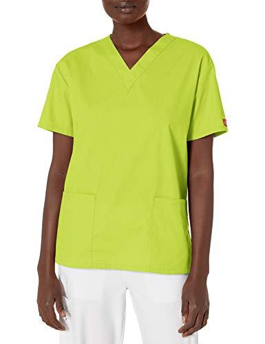 Dickies Damen V-Neck Scrub Top Krankenhauskleidung, Oberteil, Neongrün (Lime Punch), X-Groß