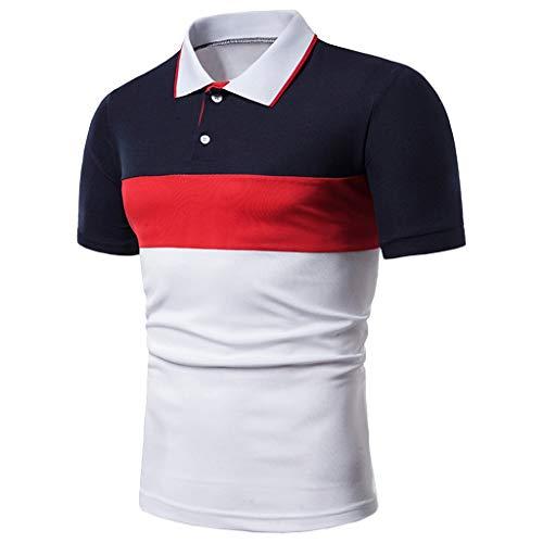 CICIYONER Poloshirts Herren Sommer Tshirts Slim Fit Turn-down-Kragen Button Patchwork Kurzarmbluse Schwarz Rot Grün Blau Gelb M L XL XXL XXXL