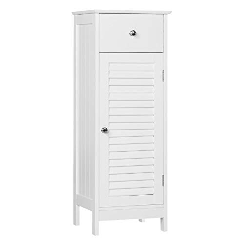Sale!! Yaheetech Wooden Bathroom Floor Cabinet, Free-Standing Storage Organizer Unit with Drawer and...