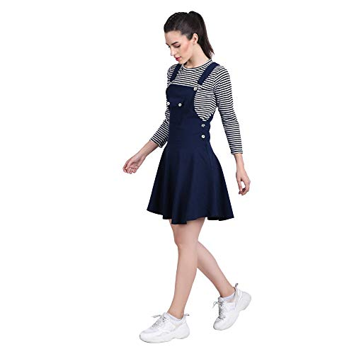 DIMPY GARMENTS BuyNewTrend Cotton Lycra Navy Blue Dungaree Skirt with Top for Women