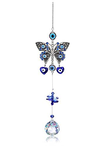 Jovivi Decoración azul ojo turco mariposa ojo del diablo colgante de pared Amuleto adorno colgante...
