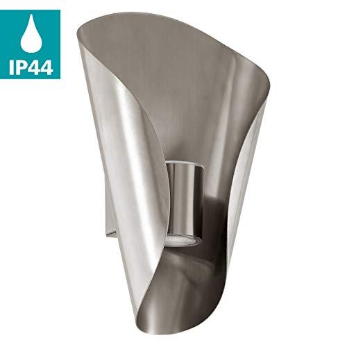 EGLO LED Außen-Wandlampe Bosaro, 2 flammige Außenleuchte, Wandleuchte aus Edelstahl, Farbe: Silber, IP44