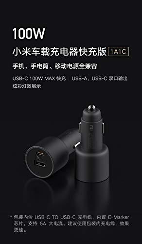 Original 100 W cargador de coche dual USB carga rápida Mi coche cargador USB-A USB-C doble salida LED luz con cable 5A (100 W 1A 1C)
