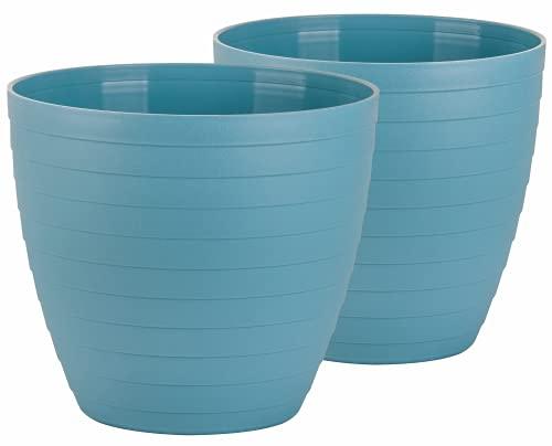 Macetas para Exterior de Plástico 30 cm (2 uds) Maceta plástico Grande para Plantas. Macetero Interior Terraza Moderno de...