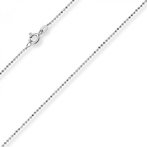 1mm Kugelkette diamantiert Kette Goldkette Halskette aus 585 Gold Weißgold, 38cm