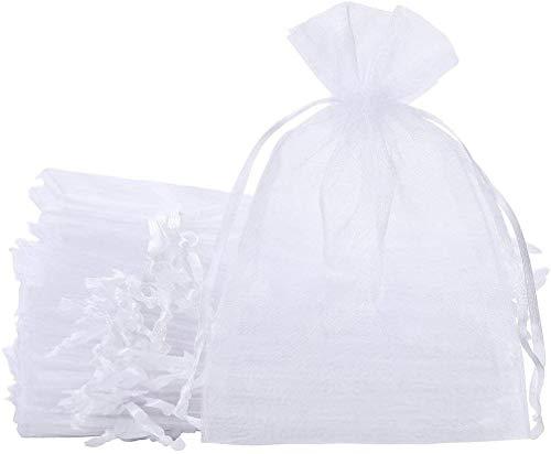 100pz Sacchetti Organza Portaconfetti 10 * 15cm Bustine Bomboniere Confetti per Matrimonio Battesimo Compleanno Natale Regalo Caramella Gioielli