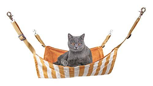 GPR猫小動物フェレットハンモックキャットハンモックベッド・ソファヒモ調整可能水洗いOKケージ用フック付きバックル付き猫用品冬夏両用耐荷重7.5KG45*37cm(ブラウン)