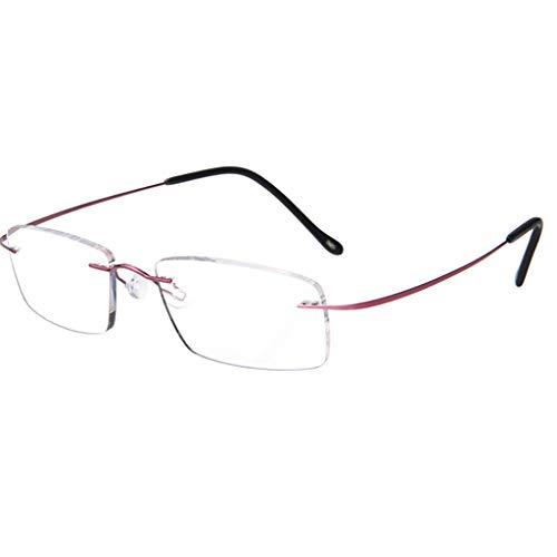WILK leesbril, anti-vermoeidheid HD leeftijd mannelijk draagbare frameloze elegante bril van puur titanium + brillenkoker (zilver, paars)