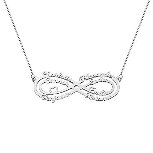 Collar familiar personalizado colgante con símbolo de infinito collar con nombre collar de promesa de mamá Navidad para abuela(Plata 14)