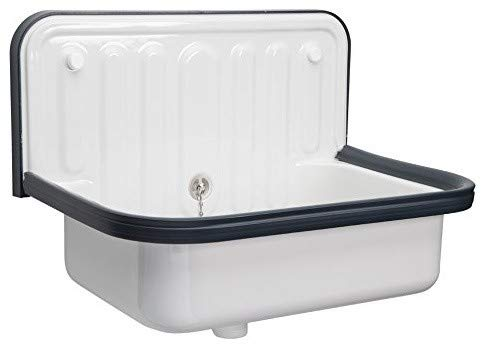 AP Wall Mounted Small Service Sink Glazed Steel Utility Sink, with Overflow, Dark Navy Blue Trim