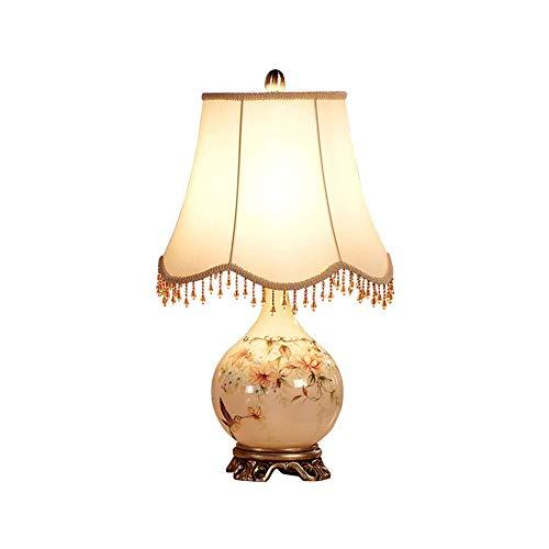 CHENJIA Lámpara de mesa de cristal retro europeo, dormitorio de noche creativo luz de la noche, pantalla de la tela de la lámpara de tabla simple (con exclusión de la bombilla)