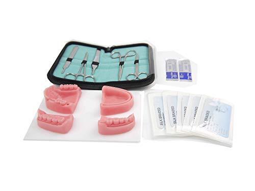 Kit de sutura de odontología 4 almohadillas de sutura adecuadas para estudiantes de medicina, dentista y enfermera Silicona suave duradera y reutilizable