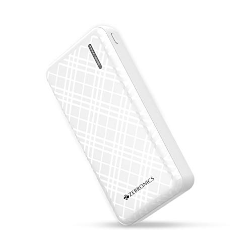 Zebronics Zeb-ME20000 Power Bank - 20000 mAh Capacity, 2.1A Type C and Micro USB Input, Dual USB Output, Short Circuit/Overload/Overcharge Protection with LED Indicator (White)