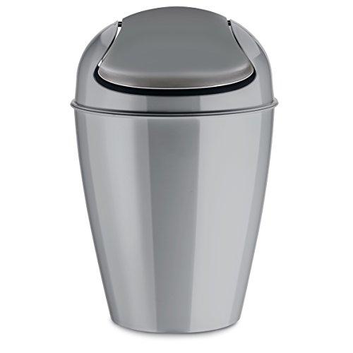 koziol Schwingdeckeleimer 5 L Del S,  Kunststoff, solid cool grey, 21,6 x 21,6 x 37 cm