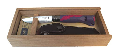Opinel Kindermesser Outdoor Junior mit Wunschgravur auf der Klinge (Violett, in Geschenkbox)