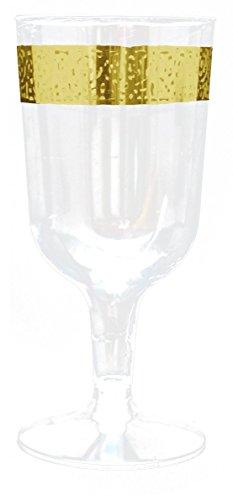Decorline-Stoviglie plastica Deluxe- per feste decorate-Party -Piatti di plastica bianco usa e getta con bordo del merletto in Oro- Inspiration Collection (Bicchiere di vino 180 ml)