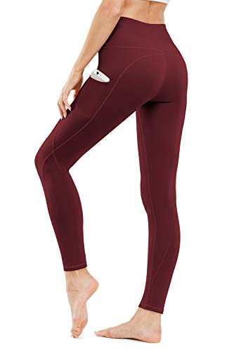TUNGLUNG High Waist Yoga Pants, Yoga Pants with Pockets Tummy Control Workout Pants 4 Way Stretch Pocket Leggings Wine Red