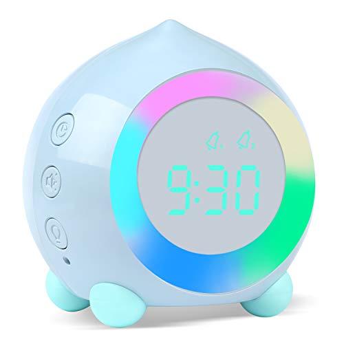 ZKIAH Sveglia Bambini Ragazzi Ragazze, Sveglia Digitale da Comodino con Luce Lampada, Camera da Letto Sunrise Simulator Silenzioso Sveglia (Blu)