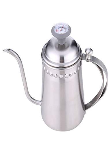 Olla de café de cuello de cisne de acero inoxidable/olla de goteo de lavado a mano con acabado mate y termómetro desmontable, 700 ml/24.4 oz, 4 tazas para uso doméstico