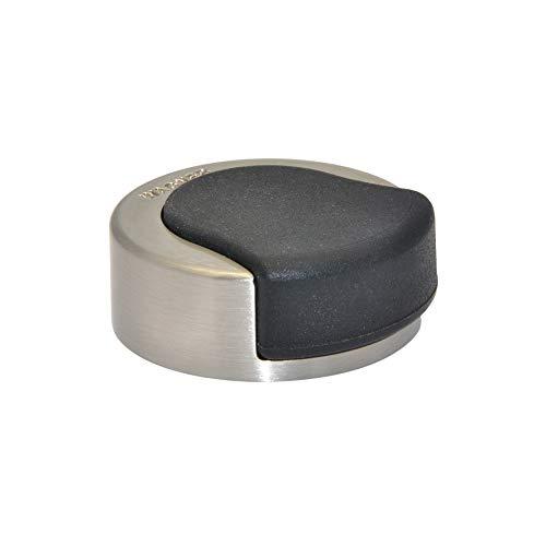 WAGNER Design-Türstopper Screw - Durchmesser Ø 33 x 17 mm, Zinkdruckguss in Edelstahl-Optik gebürstet, thermoplastischer Kautschuk, schwarz - 15514811