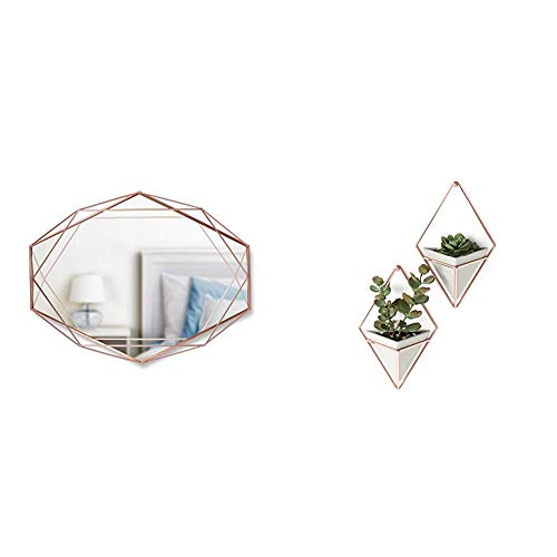 Umbra Prisma Wandspiegel für horizontale oder vertikale Anbringung, Metall, Kupfer & Trigg Wandvase & Geometrische Deko – Übertopf Für Zimmerpflanzen, Sukkulenten, Luftpflanzen, Beton/Kupfer, Klein, 2