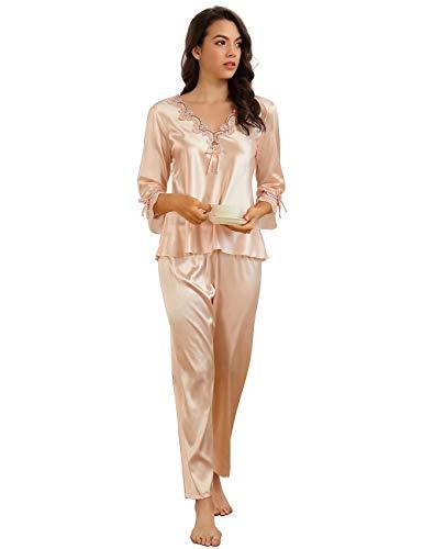 ohyeahlady Damen Schlafanzug 3/4 Arm V Ausschnitt Satin Nachtwäsche Pyjama-Set Loungewear(Rosa,EU 38-40)