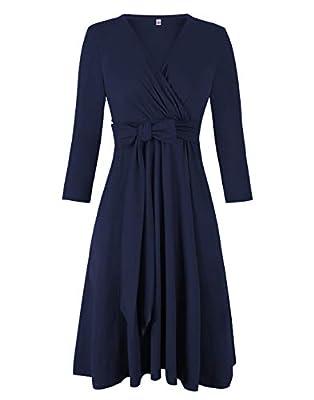 Akivide Womens A Line Dresses, Casual V Neck Wrap Dress