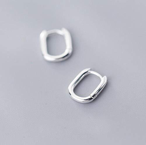 Pendientes Mujer Pendientes De Aro Cuadrados Simples De Plata De Ley 925 para Mujer, Regalo De Joyería De Moda-Silver_Color