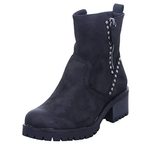 Alyssa Damen Stiefel 3303-80-BK rockiger Stiefel mit Reißverschluss und Ziernieten, Blockabsatz Schwarz (Black) Größe 36 EU