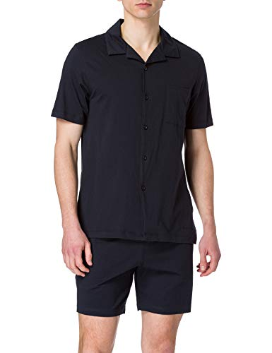 Marc O'Polo Body & Beach Kurzer Schlafanzug Loungewear durchgeknöpft Juego de Pijama, Azul Oscuro, S para Hombre