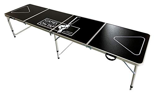 Games On Tap 8 Foot Beer Pong Table, Foldable, Adjustable and Portable with 6 Pong Balls Included, Black, Model Number: GT8BP