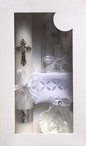 New Boys or Girls Christening Baptism Candle Box Gift 5 Pc Set Plastic Shell Missal Book in English
