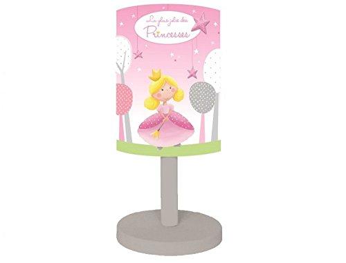 Titoutam T0102 Lampe Princesse avec Pied Bois et Abat-Jour PVC Rose