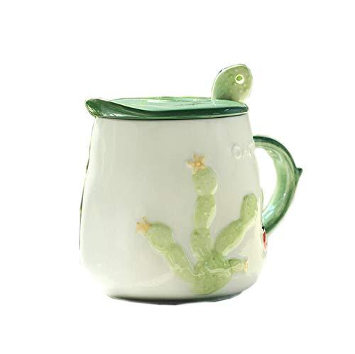 LIUTIAN Cactus Taza, Taza de cerámica del café con Tapa y Cuchara, Desayuno Copa, 8x8x10.5cm, 450ml (Color : B)