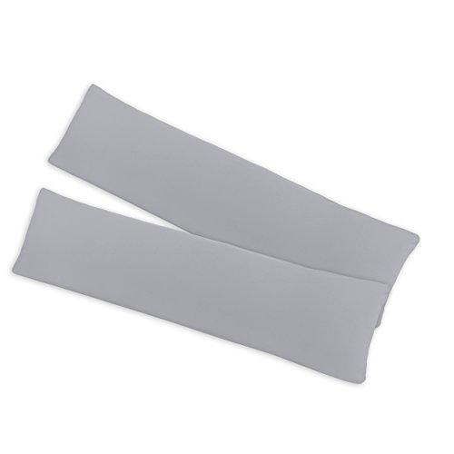 SHC - Kissenbezug 2er-Set für Stillkissen, 100% Baumwolle mit Reißverschluss - 145x40cm, Silber/hellgrau