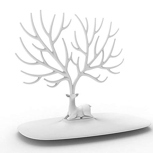 GBB Creativo Scaffale da Parete Testa di Cervo Espositore per Gioielli Orecchini Collana Espositore Decorazione per la casa Bianco degli Stati Uniti