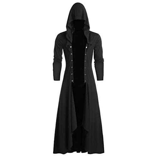 Vintage Punk Lang Umhang Mäntel mit Kapuze Herren Faschingskostüme Retro Steampunk Gothic Schwarz Cape Wintermantel Coat Karneval Fest Party Kostüm Mittellang Cosplay Uniform Mittelalter Kostüm