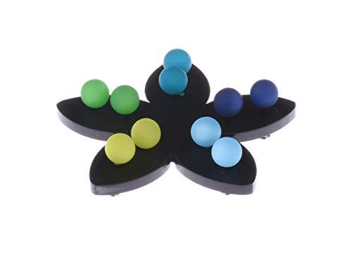 Adi Modeschmuck 5 Paar Ohrstecker in 8mm, original italienisches Polaris an einem Stift aus Chirurgenstahl auf einer schwarzen Blume aus Plexiglas