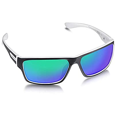 Dreamviva Mens Polarized Sport Sunglasses with Ultra Light Frame, UV400 Protection for Running Cycling, Black and White Arms, Green Lens