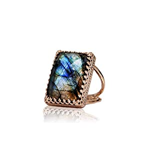 Rose Gold Labradorite Large Engagement Ring
