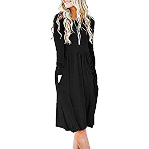 Women's Long Sleeve Pockets Loose Swing Casual Dress