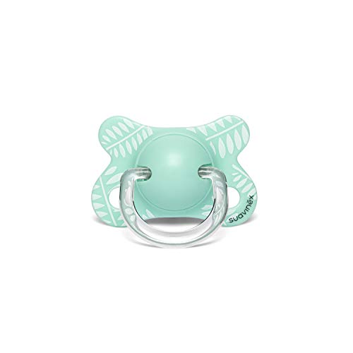 Suavinex - Chupete para bebés -2/4 meses. con tetina fisiológica de látex. color Mariposas Verde